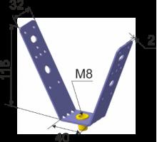 Кронштейн для профнастила перфорированный оцинк. М8 (V-обр.)